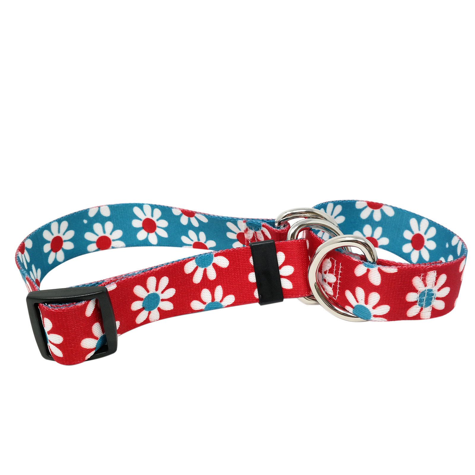 Red & Teal Daisy Martingale Collar